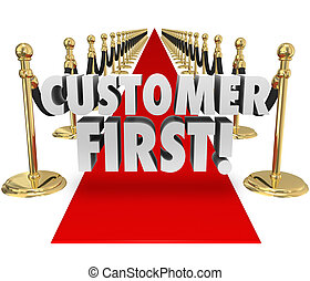 Customer First Words Red Carpet Top Priority Client Service...