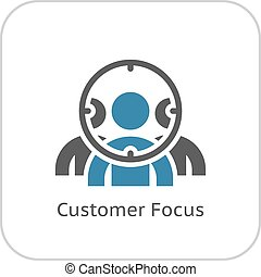 Customer Focus Icon. Flat Design. Business Concept. Isolated...