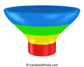 Customer funnel - Sales funnel isolated on the white...