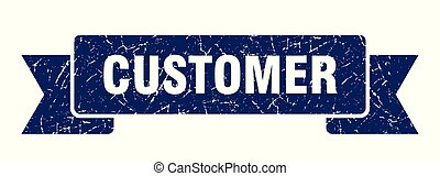 customer grunge ribbon. customer sign. customer banner