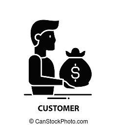 customer icon, black vector sign with editable strokes, concept illustration