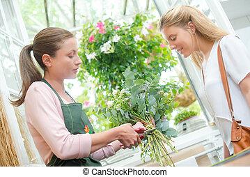 customer in flower shop