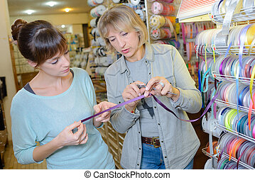 customer in haberdashery shop