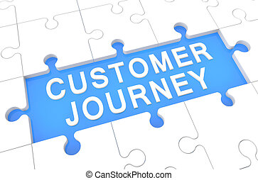 Customer Journey - puzzle 3d render illustration with word...
