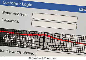 Customer log-in on computer screen