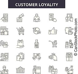 Customer loyality line icons, signs set, vector. Customer loyality outline concept, illustration: customer,marketing,business,loyalty,loyal,client,service,concept