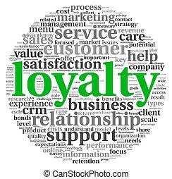 Customer loyalty concept in word tag cloud on white...