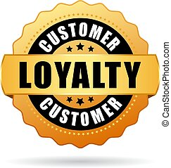 Customer loyalty gold vector icon - Customer loyalty program...