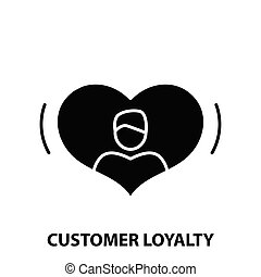 customer loyalty icon, black vector sign with editable strokes, concept illustration