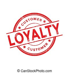 Customer loyalty red rubber stamp on white background.