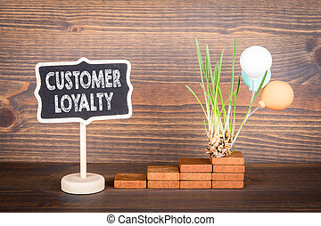 Customer Loyalty. Satisfaction, brand, survey and marketing concept