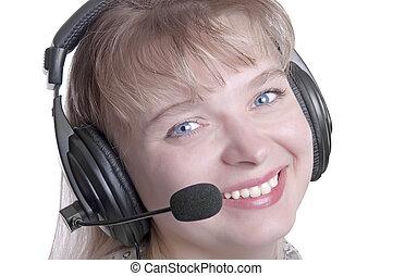 customer operator woman smiling