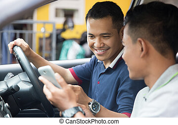 customer ordering taxi via online apps