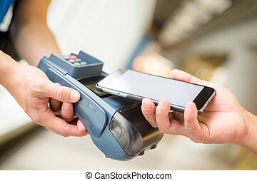 Customer pay by cellphone with NFC