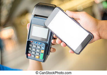Customer pay by mobile phone with NFC technology