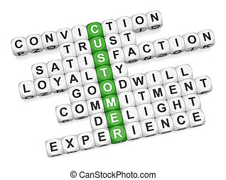 Customer positive experience crossword on white background...