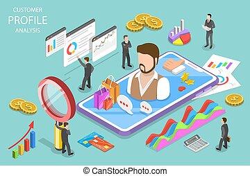 Customer profile analysis isometric flat vector concept.