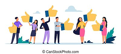 Customer rating. Good client opinion concept. Business satisfaction support web application. People with likes, online assessment company service quality products vector flat illustration