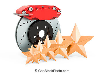 Customer rating of car disc brake with caliper concept. 3D rendering