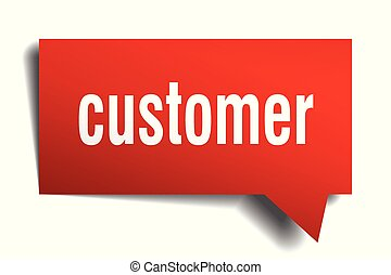 customer red 3d speech bubble