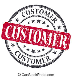 Customer red grunge textured vintage isolated stamp