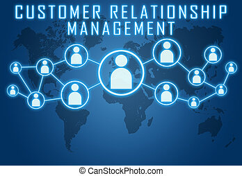 Customer Relationship Management concept on blue background ...