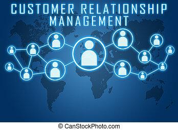 Customer Relationship Management concept on blue background ...