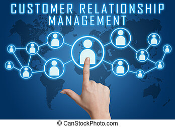 Customer Relationship Management concept with hand pressing...