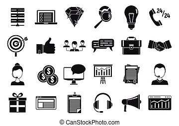 Customer relationship management icons set, simple style