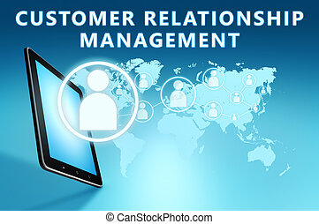 Customer Relationship Management illustration with tablet...