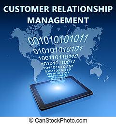 Customer Relationship Management illustration with tablet...
