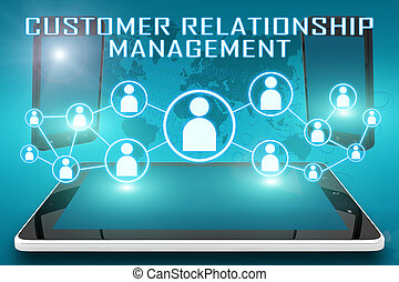 Customer Relationship Management - text illustration with...