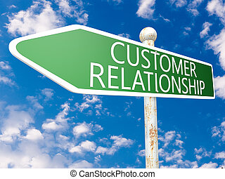Customer Relationship - street sign illustration in front of...