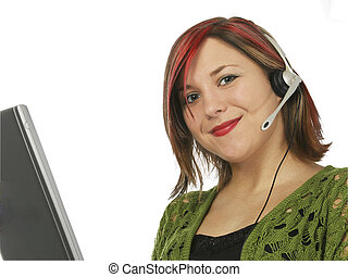 Customer Rep Smile - Young woman with computer and headset. ...