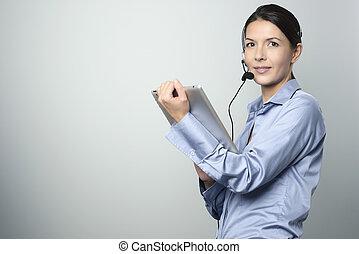 Customer Representative Holding Tablet Computer