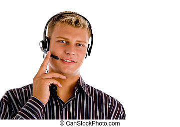 customer representative wearing headset on an isolated white...