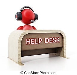 Customer representative with headset sitting on the help...