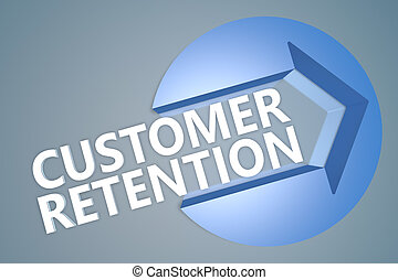 Customer Retention - 3d text render illustration concept with a arrow in a circle on blue-grey background