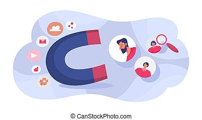 Customer retention concept. Attract people with magnet. Business marketing strategy. Customer support. Vector illustration in cartoon style