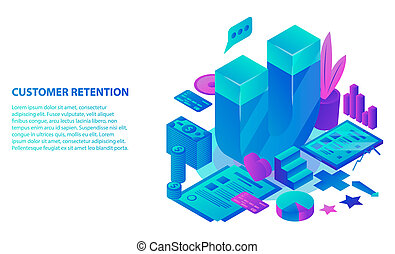 Customer retention concept background, isometric style