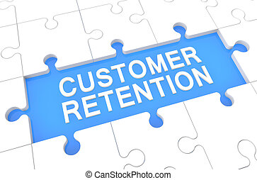 Customer Retention - puzzle 3d render illustration with word on blue background