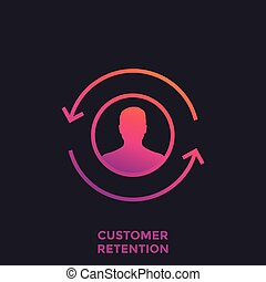 customer retention, returning client icon, eps 10 file, easy to edit