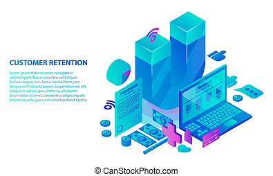 Customer retention service concept background, isometric style
