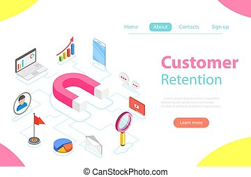 Customer retention strategy flat isometric vector.