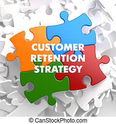 Customer Retention Strategy Plenty White and Colored Puzzle Pieces with Texts. Commonly Used in Business Sales.