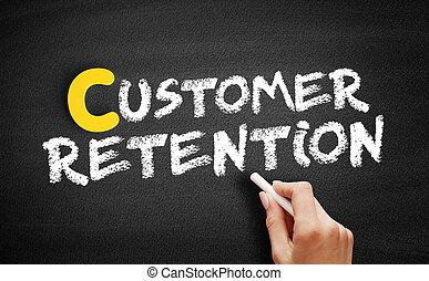 Customer Retention text on blackboard