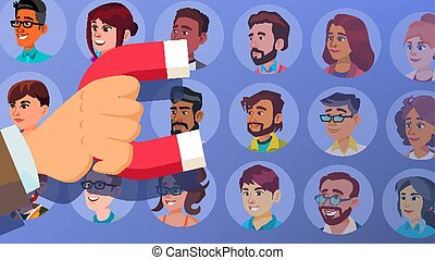 Customer Retention Vector. Businessman Hand With Giant Magnet. Relationship, Marketing Segmentation. People, Client. Customer Loyalty, Support. Care For Employees. Flat Cartoon Illustration