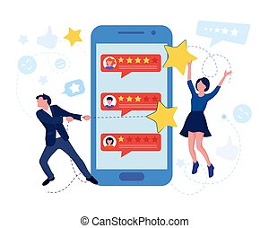 Customer review and satisfaction feedback concept. Vector ...