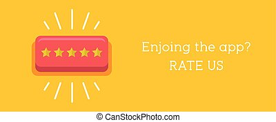 Customer review concept. Rating golden stars button....