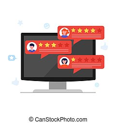 Customer review concept with rating stars and feedbacks. ...